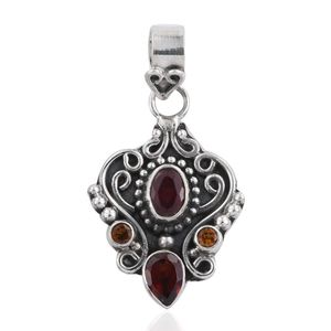 Niassa Ruby, Mozambique Garnet, Brazilian Citrine Sterling Silver Pendant without Chain TGW 2.15 cts.
