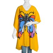 Yellow Butterfly Printed 100% Polyester V-Neck Kaftan (Free Size)