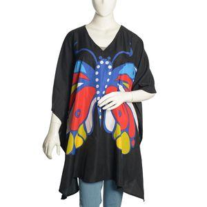 Black Butterfly Printed 100% Polyester V-Neck Kaftan (Free Size)