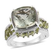 Dan's Collector Deal Green Amethyst, Hebei Peridot Platinum Over Sterling Silver Openwork Ring (Size 6.0) TGW 10.19 cts.