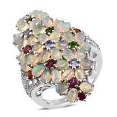 Ethiopian Welo Opal, Multi Gemstone Platinum Over Sterling Silver Elongated Floral Bundle Ring (Size 5.0) TGW 6.33 cts.