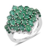 Kagem Zambian Emerald Platinum Over Sterling Silver Cluster Ring (Size 8.0) TGW 4.16 cts.