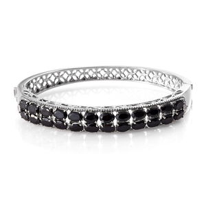 One Time Only Thai Black Spinel, White Topaz Stainless Steel Openwork Cluster Bangle (7.25 in) TGW 14.21 cts.