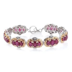 Niassa Ruby, Cambodian Zircon 14K YG and Platinum Over Sterling Silver Bracelet (7.50 In) TGW 21.11 cts.
