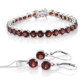 Mozambique Garnet Platinum Over Sterling Silver Bracelet (7.50 In), Lever Back Earrings and Pendant With Chain (20.00 In) Total Gem Stone Weight 33.51 Carat