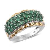 Kagem Zambian Emerald 14K YG and Platinum Over Sterling Silver Ring (Size 8.0) TGW 2.10 cts.