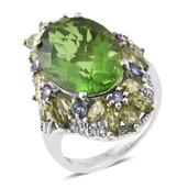 Chartreuse Quartz, Multi Gemstone Platinum Over Sterling Silver Ring (Size 10.0) TGW 15.77 cts.