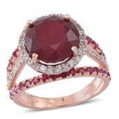 Niassa Ruby, Ruby, Cambodian Zircon 14K YG Over Sterling Silver Ring (Size 8.0) TGW 10.34 cts.