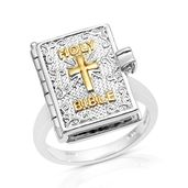 TLV Platinum Over Sterling Silver Holy Bible Ring (Size 8.0)