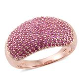 Madagascar Pink Sapphire 14K RG Over Sterling Silver Cluster Dome Ring (Size 10.0) TGW 3.56 cts.
