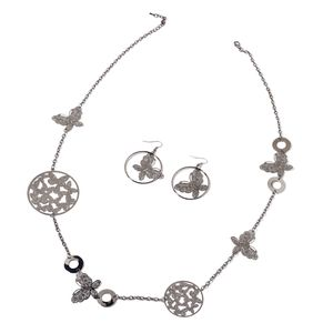 Dark Silvertone Butterfly Earrings and Necklace Set (40 in)