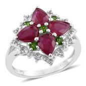 Niassa Ruby, Russian Diopside, Cambodian Zircon Platinum Over Sterling Silver Ring (Size 8.0) TGW 4.19 cts.