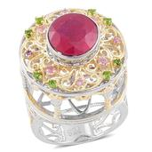 Niassa Ruby, Madagascar Pink Sapphire, Russian Diopside 14K YG Over and Sterling Silver Carousel Statement Ring (Size 5.0) TGW 4.07 cts.