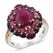 Niassa Ruby, Thai Black Spinel 14K YG and Platinum Over Sterling Silver Split Ring (Size 8.0) TGW 8.78 cts.