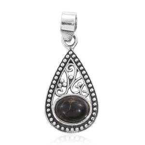 Artisan Crafted Mojave Black Turquoise Sterling Silver Pendant without Chain TGW 1.85 cts.