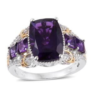 Lusaka Amethyst, Cambodian Zircon 14K YG and Platinum Over Sterling Silver Openwork Ring (Size 6.0) TGW 8.13 cts.