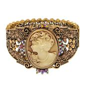 Cameo, Champagne Color Austrian Crystal Goldtone Bangle (7.50 in)