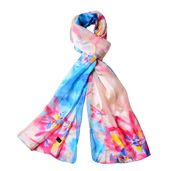 J Francis - Sky Blue and Pink Floral Pattern 100% Natural Mulberry Silk Scarf (66x21 in)