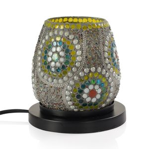 Handcrafted Multi Color Floral Design Mosaic Electric Lamp with Himalayan Salt (4.5 in)