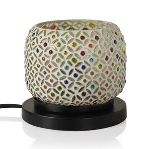 Doorbuster Handcrafted Silver and Multi Color Floral Design Mosaic Electric Lamp with Himalayan Salt (5 in)