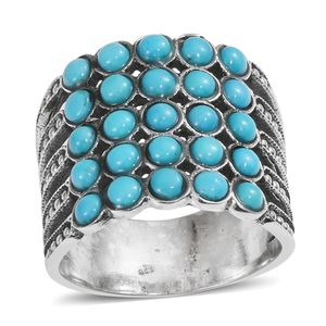 Arizona Sleeping Beauty Turquoise Sterling Silver Ring (Size 7.0) TGW 2.93 cts.