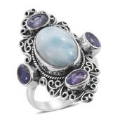 Artisan Crafted Larimar, Rough Cut Tanzanite Sterling Silver Elongated Ring (Size 6.0) TGW 8.50 cts.