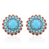Arizona Sleeping Beauty Turquoise, Mediterranean Coral Platinum Over Sterling Silver Stud Earrings TGW 11.90 cts.