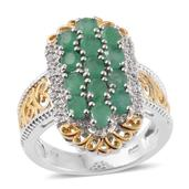 Kagem Zambian Emerald, Cambodian Zircon 14K YG and Platinum Over Sterling Silver Openwork Ring (Size 5.0) TGW 2.24 cts.