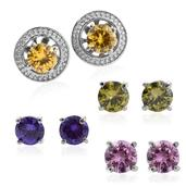 TLV Simulated Multi Color Diamond Stainless Steel Set of 4 Earrings TGW 11.36 cts.