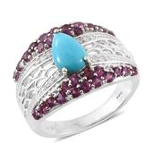 Arizona Sleeping Beauty Turquoise, Orissa Rhodolite Garnet, Cambodian Zircon Platinum Over Sterling Silver Ring (Size 5.0) TGW 2.52 cts.