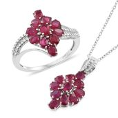 Niassa Ruby Platinum Over Sterling Silver Ring (Size 8) and Pendant With Chain (20 in) TGW 5.60 cts.