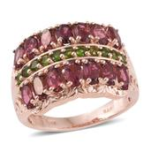 Morro Redondo Pink Tourmaline, Russian Diopside 14K RG Over Sterling Silver Ring (Size 7.0) TGW 3.68 cts.