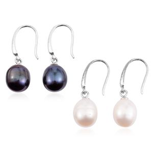 Set of 2 Freshwater Peacock and White Pearl Silvertone Drop Earrings