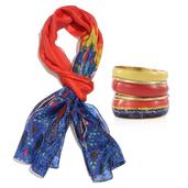 Mother's Day Red and Blue 100% Natural Mulberry Silk Abstract Pattern Printed Scarf with Goldtone Matching Bangle Set (70x19 in)