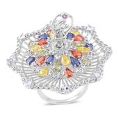 Multi Sapphire, White Topaz Sterling Silver Twirling Ballerina Statement Ring (Size 7.0) TGW 8.14 cts.