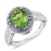 Chartreuse Quartz, Multi Gemstone Platinum Over Sterling Silver Ring (Size 7.0) TGW 6.51 cts.