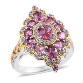 Morro Redondo Pink Tourmaline, Tanzanite, Cambodain Zircon 14K YG and Platinum Over Sterling Silver Ring (Size 6.0) TGW 3.34 cts.