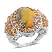 Bumble Bee Jasper, Brazilian Citrine, Diamond Accent Platinum Over Sterling Silver Ring (Size 6.5) , TDiaWt 0.02 cts, TGW 10.820 cts.