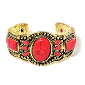 TLV Nefertiti's Treasure Red Howlite Goldtone Cuff (7 in) TGW 50.00 cts.