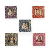 Set of 5 Multi Color Floral Pattern Magnetic Photo Frames