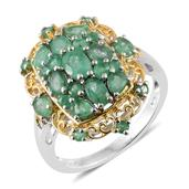 Kagem Zambian Emerald 14K YG and Platinum Over Sterling Silver Ring (Size 10.0) TGW 2.61 cts.