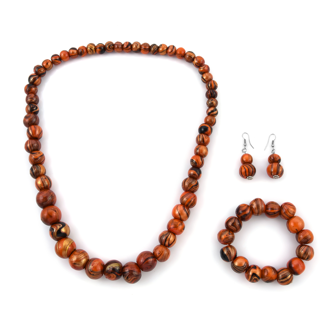 Orange Wooden Beads Silvertone Neckalce, Bracelet and Earrings