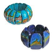 Turquoise and Blue Wooden Abstract Set of 2 Bracelets (Stretchable)