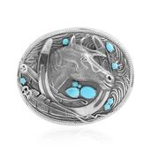 Arizona Sleeping Beauty Turquoise Sterling Silver Horse Belt Buckle TGW 1.89 cts.