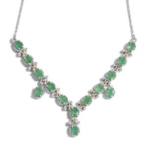 Kagem Zambian Emerald 14K YG and Platinum Over Sterling Silver V-Shape Princess Necklace (18 in) TGW 4.12 cts.