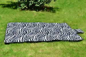Zebra Print PEVA Water Resistent Fleece Picnic Blanket (67x51 in)