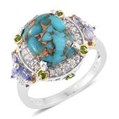 Mojave Blue Turquoise, Multi Gemstone 14K YG and Platinum Over Sterling Silver Ring (Size 8.0) TGW 7.32 cts.