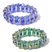 Set of 2 Blue and Green Glass, White Austrian Crystal Bracelets (Stretchable)