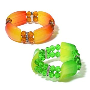 Set of 2 Green and Champagne Glass, Chroma, White Austrian Crystal Bracelets (Stretchable)