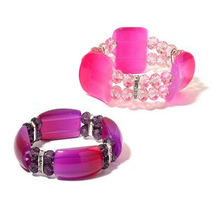 Set of 2 Pink and Purple Glass, Chroma, White Austrian Crystal Bracelets (Stretchable)